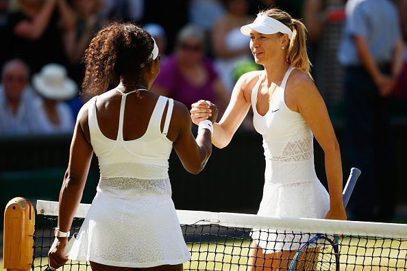 Serena Williams(L) and Maria Sharapova