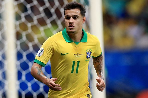 Philippe Coutinho in Brazil colors.