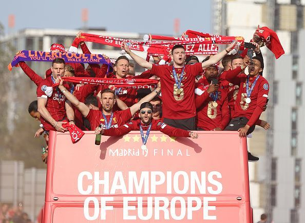The Liverpool parade celebrating their  UEFA Champions League win.