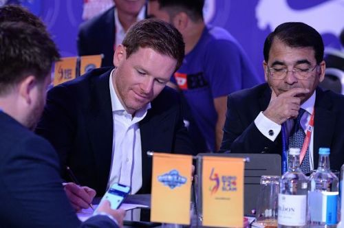 Eoin Morgan, who recently lead England to their first ever 50-over World Cup triumph during the Euro T20 Slam's draft.
