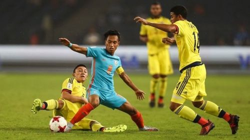 Amarjit Singh in action against Colombia in the 2017 U-17 FIFA World Cup in India