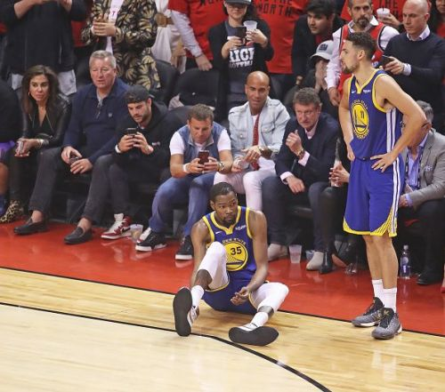 Durant feeling his Achilles in Game 5 against the Toronto Raptors