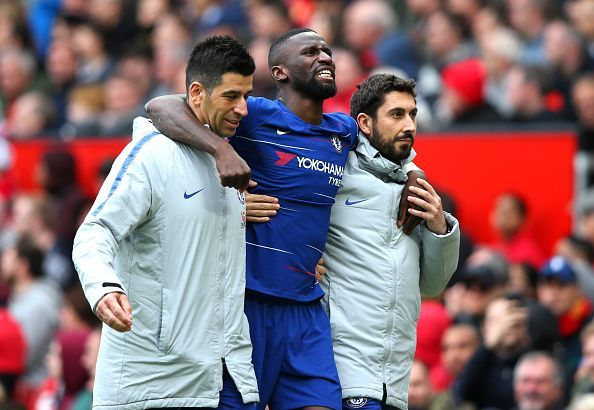Antonio Rudiger was on the bench for Chelsea in the Super Cup
