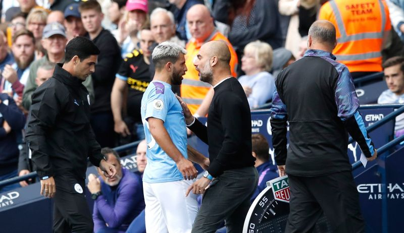 Aguero and Guardiola argue after the striker was subbed off
