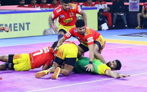 Pardeep was on fire early on, but the Gujarat defence ground him down as the match progressed