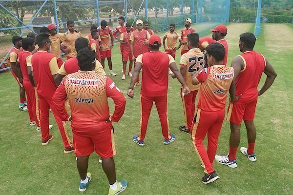 Chepauk Super Gillies team in their team meetings during their practice session led by head coach Hemang Badani ahead of their playoff game against Dindigul Dragons in the Sankar Cement TNPL 2019 at the ICL- Sankar Nagar Ground, Tirunelveli