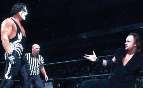 The Undertaker and Sting never collided in a WWE ring, but the pair did face off in World Championship Wrestling.