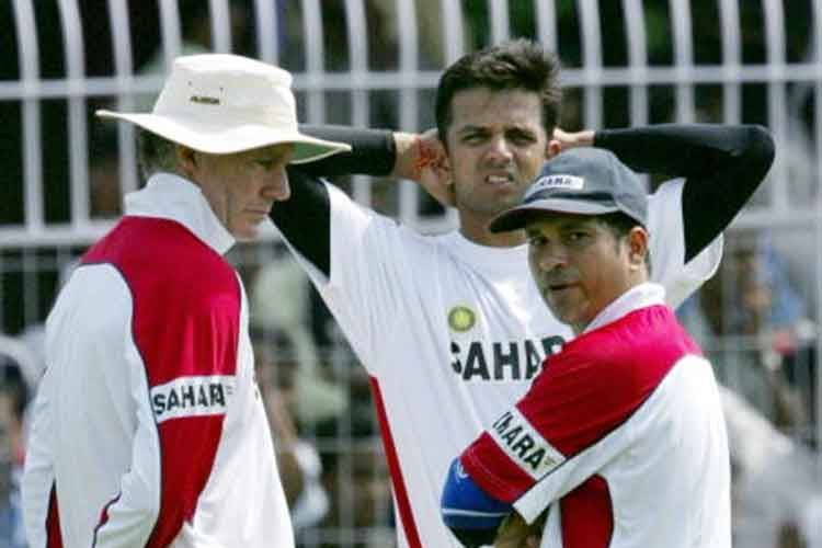 Chappell with sachin and dravid