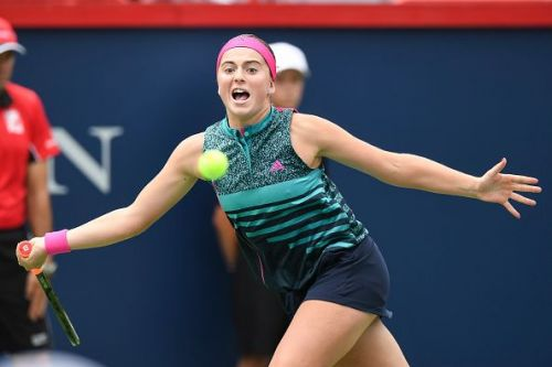 Ostapenko in action on Day 1 of this year's Toronto Rogers Cup