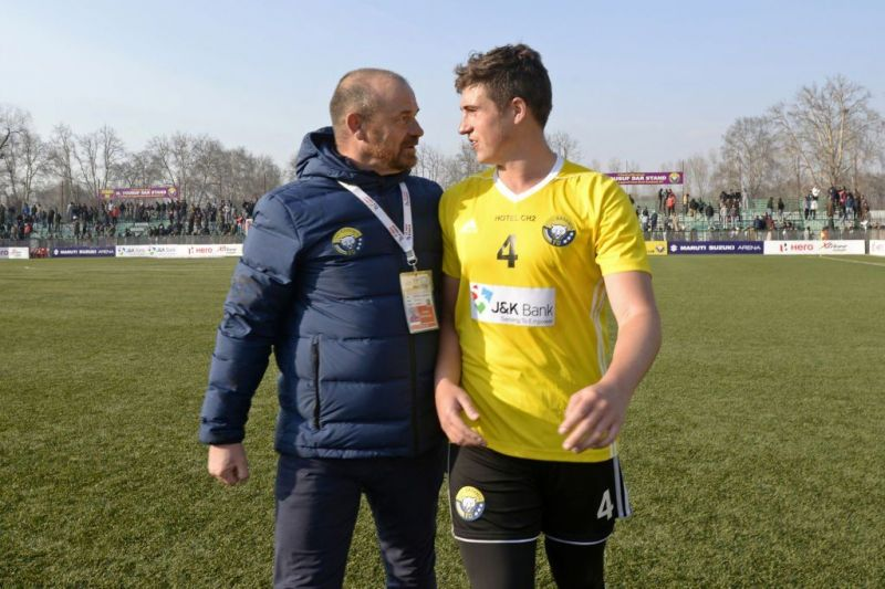 Mason Robertson with Real Kashmir FC head coach David Robertson (Photo:Twitter)