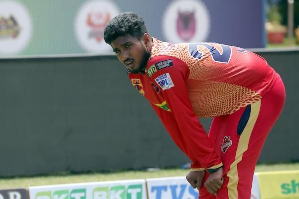 Arun B of Chepauk Super Gillies in practice session ahead of their clash against Siechem Madurai Panthers in Sankar Cement TNPL 2019 at NPR Cricket Ground, Natham, Dindigul