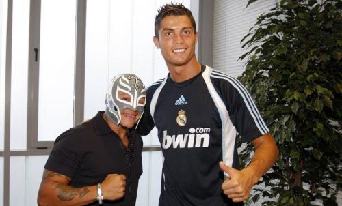 Rey Mysterio and former Real Madrid player Cristiano Ronaldo