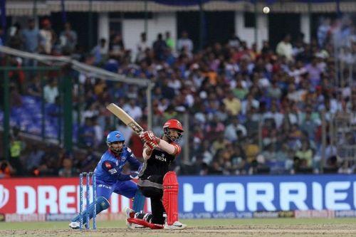 Shivam Dube playing for RCB against Delhi Capitals