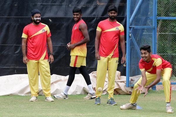 VB Kanchi Veerans team in practice session ahead of their clash in eliminator game against Siechem Madurai Panthers in the Sankar Cement TNPL 2019 at the ICL- Sankar Nagar Ground, Tirunelveli