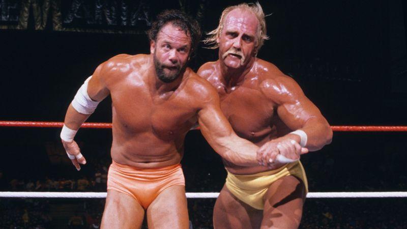 Hulk Hogan en route to winning his second WWE Championship at Wrestlemania V