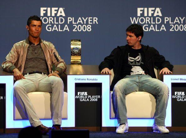 Cristiano Ronaldo (L) and Lionel Messi