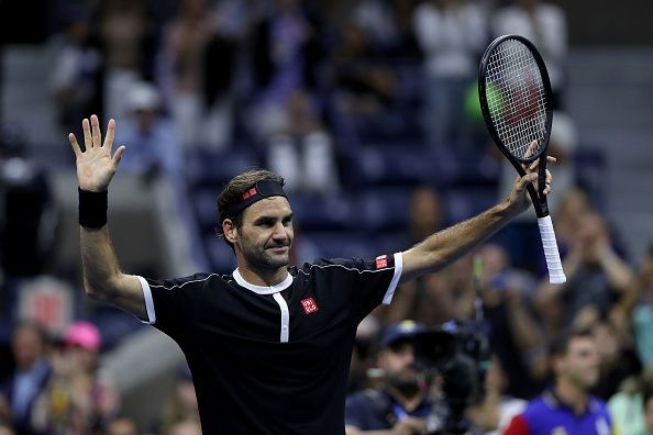 Federer acknowledges the crowd after winning his first-round match at the 2019 US Open