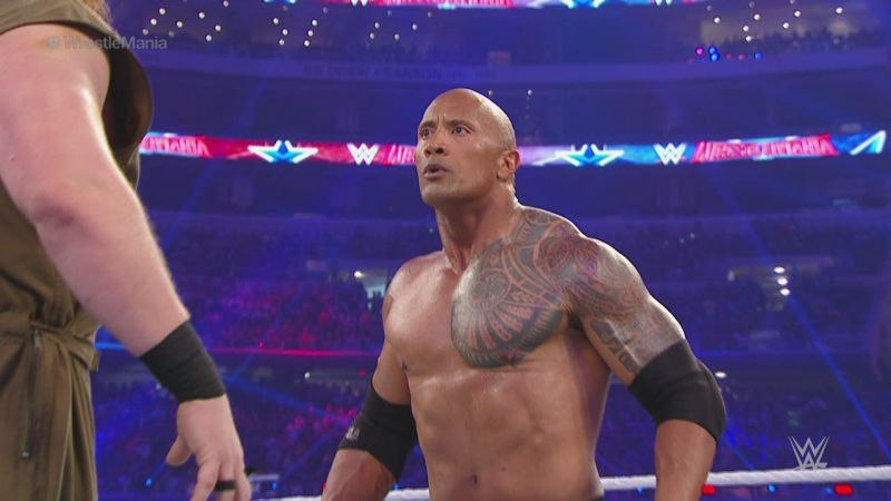 The Rock in his last singles match for WWE against Eric Rowan
