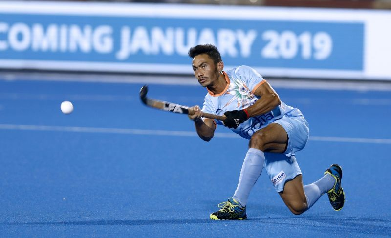 Kothajit Singh in action for India during the Odisha Hockey Men