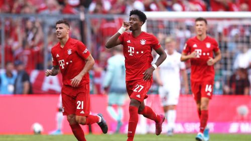 David Alaba celebrates his sweet strike that gifted Bayern the lead on the stroke of half-time
