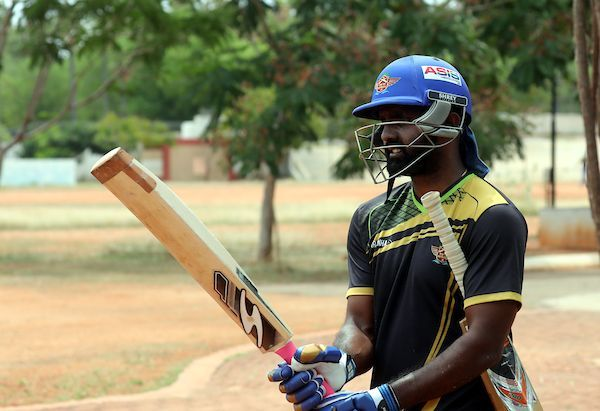 Senthil Nathan .S Of Tuti Patriots during the practice session of Tuti Patriots, ahead of the fourth edition of the Tamil Nadu Premier League 2019 at the NPR College Ground, Dindigul