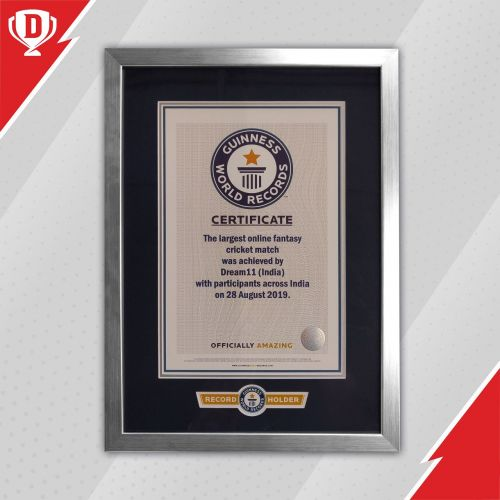 The Guinness World Record certificate awarded to Dream11