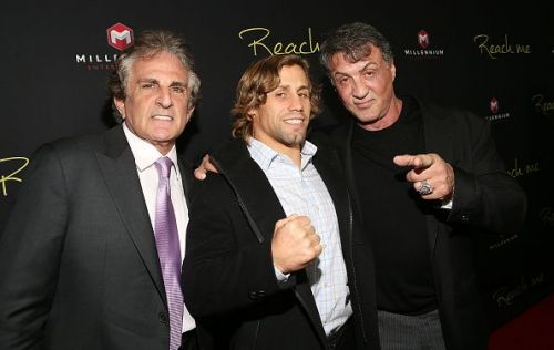 Urijah Faber with Sylvester Stallone at the premiere Of Millennium Entertainment's