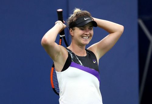 Elina Svitolina reacting to a missed point during her second-round match at the 2019 US Open