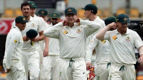 प्रसन्न मुद्रा में ऑस्ट्रेलियाई टेस्ट टीम