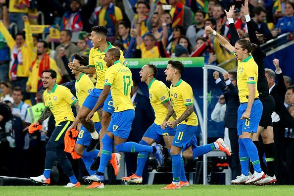 Brazil celebrate during the just concluded Copa America tournament