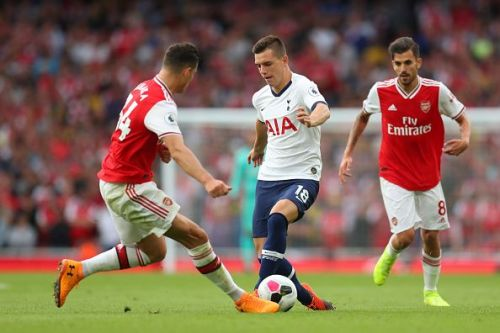 Arsenal's Granit Xhaka and Dani Ceballos in action against Spurs