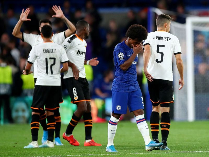 Chelsea forward Willian looks dejected after Valencia scored the only goal last night.