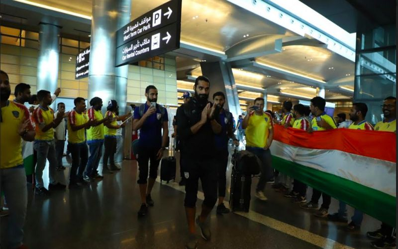 India were given a warm reception upon their arrival in Doha