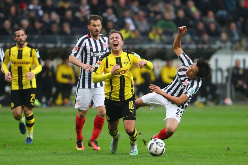 Mario Gotze in action against Frankfurt, where Dortmund dropped two points away from home