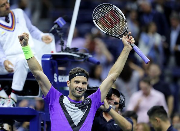 Dimitrov exults after his first win over Federer in eight matches