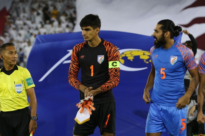 Sandhu made 11 saves in the game against Qatar.