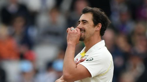 Mitchell Starc in action at Old Trafford