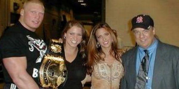 Brock Lesnar, Stephanie McMahon, Tracy, and Paul Heyman