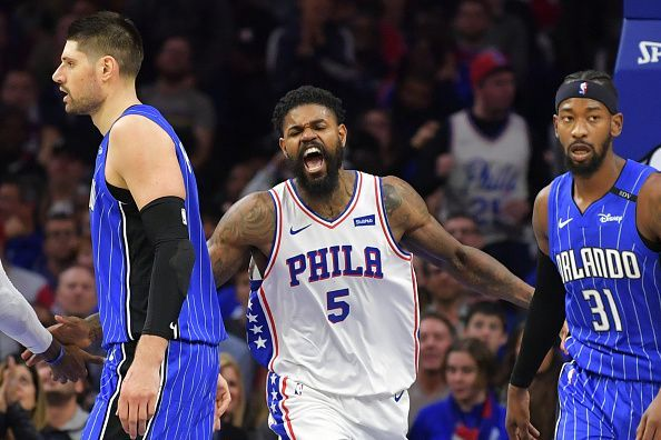 Amir Johnson spent time playing as backup to Joel Embiid in Philadelphia