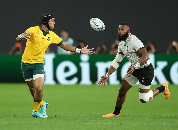 Lealiifano in his World Cup debut for Australia yesterday