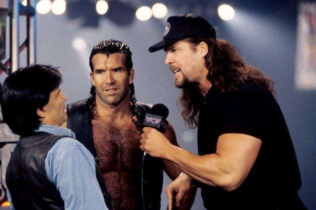 Hall and Nash intimidate Eric Bischoff on Nitro.