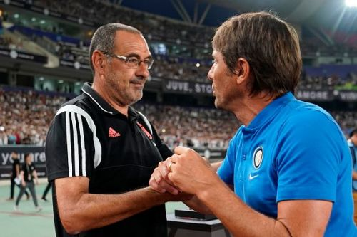 The two warring coaches, Sarri and Conte.