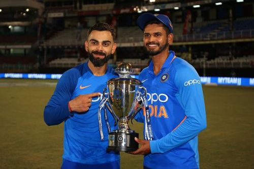 India captain Virat Kohli and Shreyas Iyer celebrate the ODI series win.