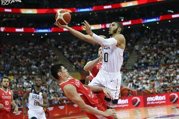 Jayson Tatum in action at the FIBA World Cup