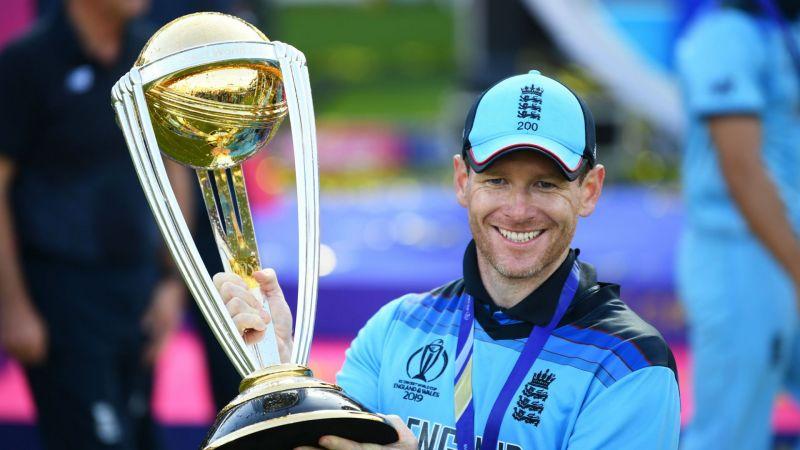 Eoin Morgan celebrates England