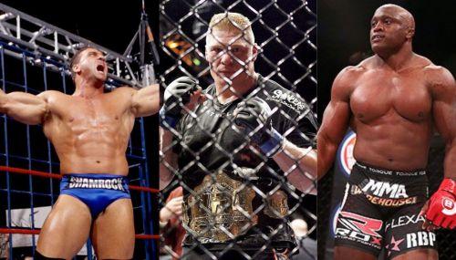 (From left to right) Ken Shamrock; Brock Lesnar; Bobby Lashley