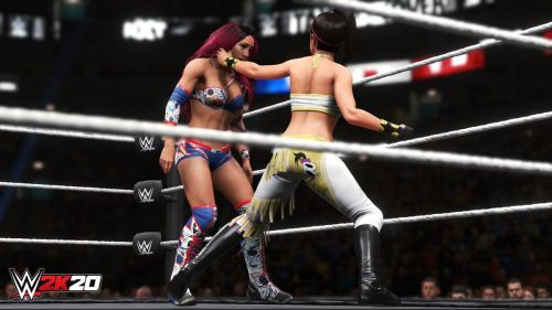 Sasha Banks and Bayley during a recreation of one of their epic matches