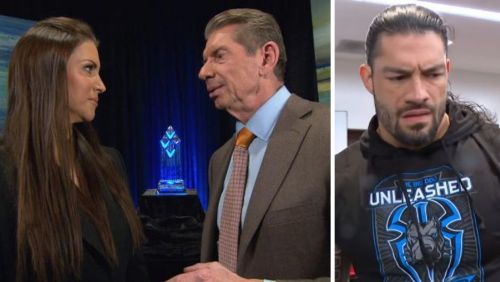 WWE: (From left to right: Stephanie McMahon, Vince McMahon, Roman Reigns)