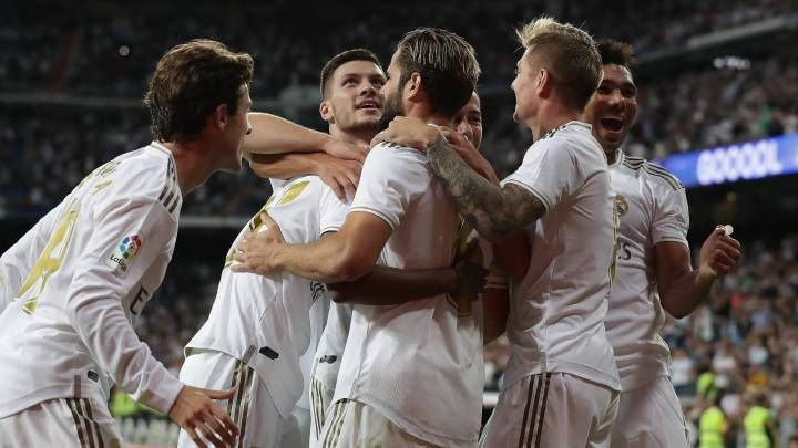 Real Madrid players in a celebratory mood.