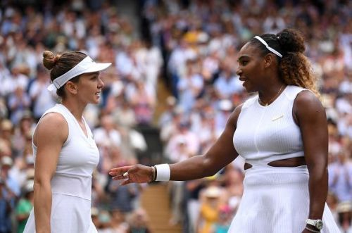 Serena Williams (R) after losing the 2019 Wimbledon final to Simona Halep